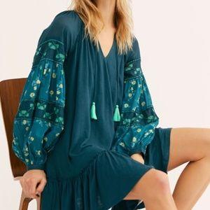 Free People Mix It Up Tunic Top Jade Combo Dress